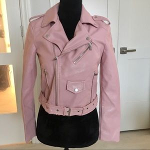 Faux Leather Baby Pink Moto Jacket 🌸